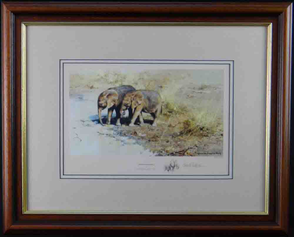 david shepherd african babies signed limited edition print framed