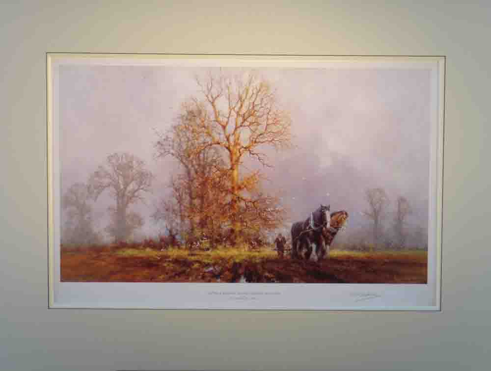 david shepherd captain and sergeant first furrows of Autumn print mounted