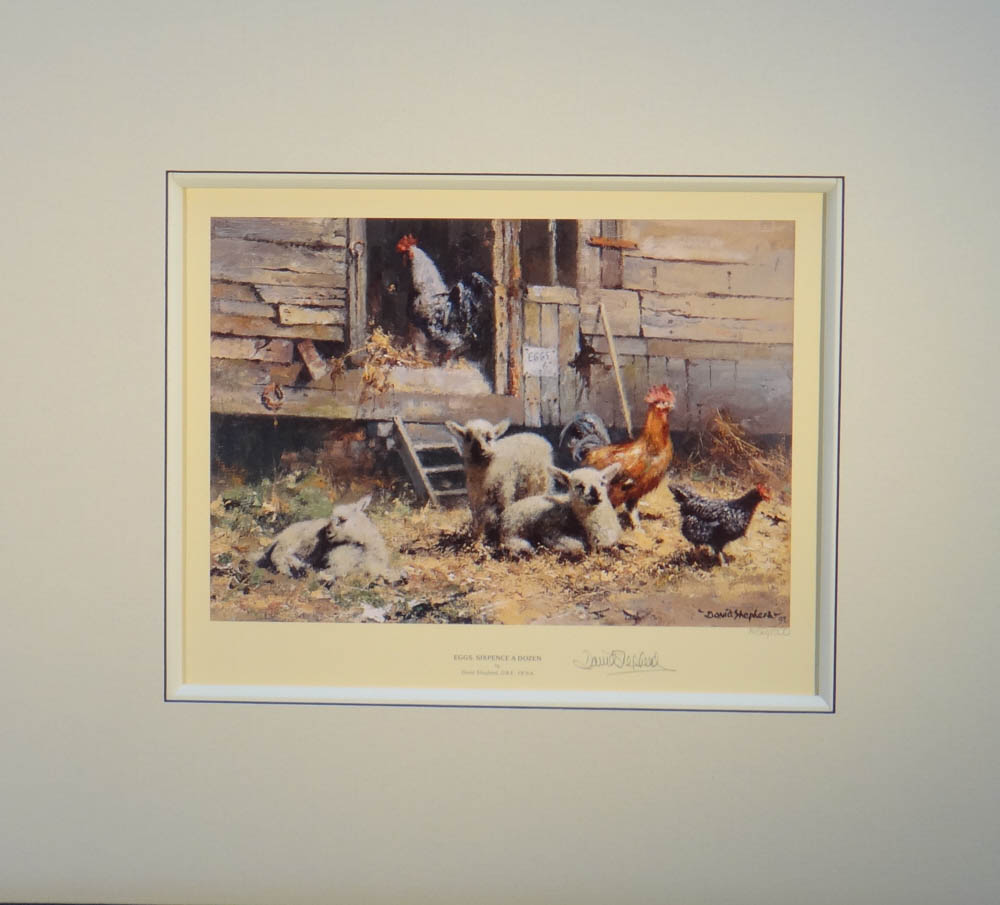 david shepherd  eggs sixpence a dozen, chickens, hens, poultry signed print mounted