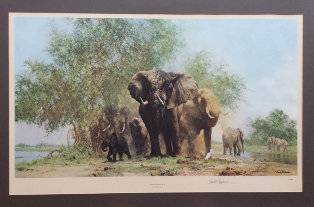david shepherd elephants and egrets print