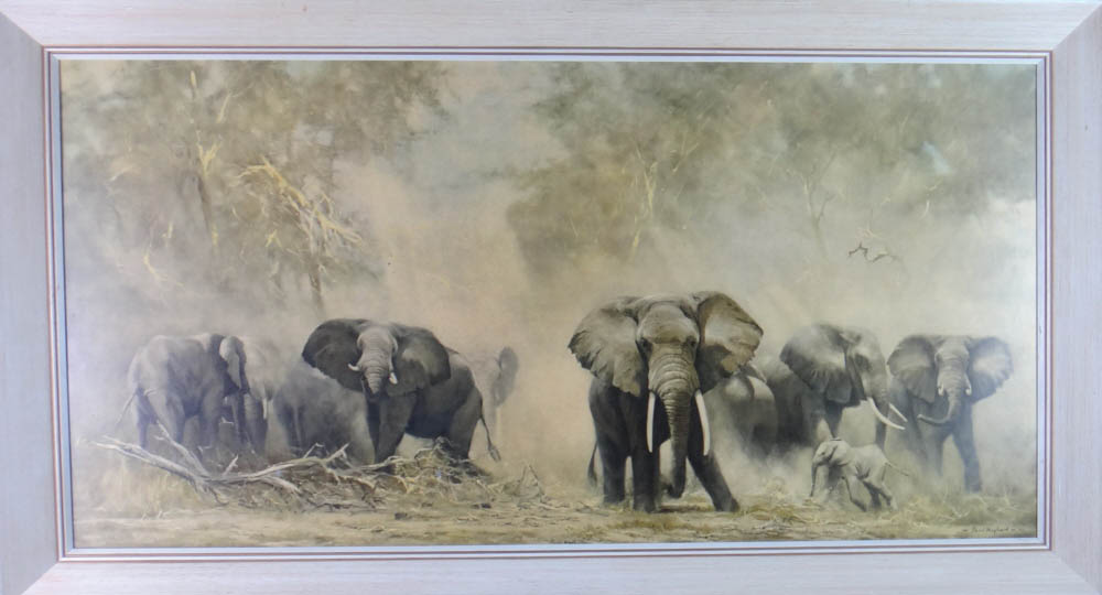 david shepherd  elephants at Amboseli framed print