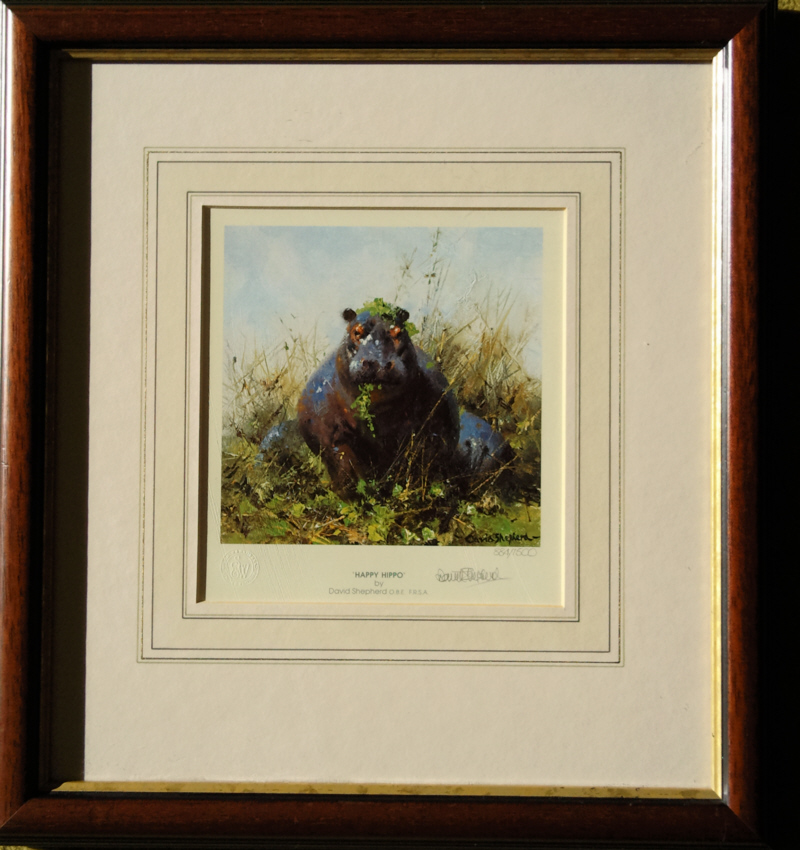 david shepherd happy hippo signed print