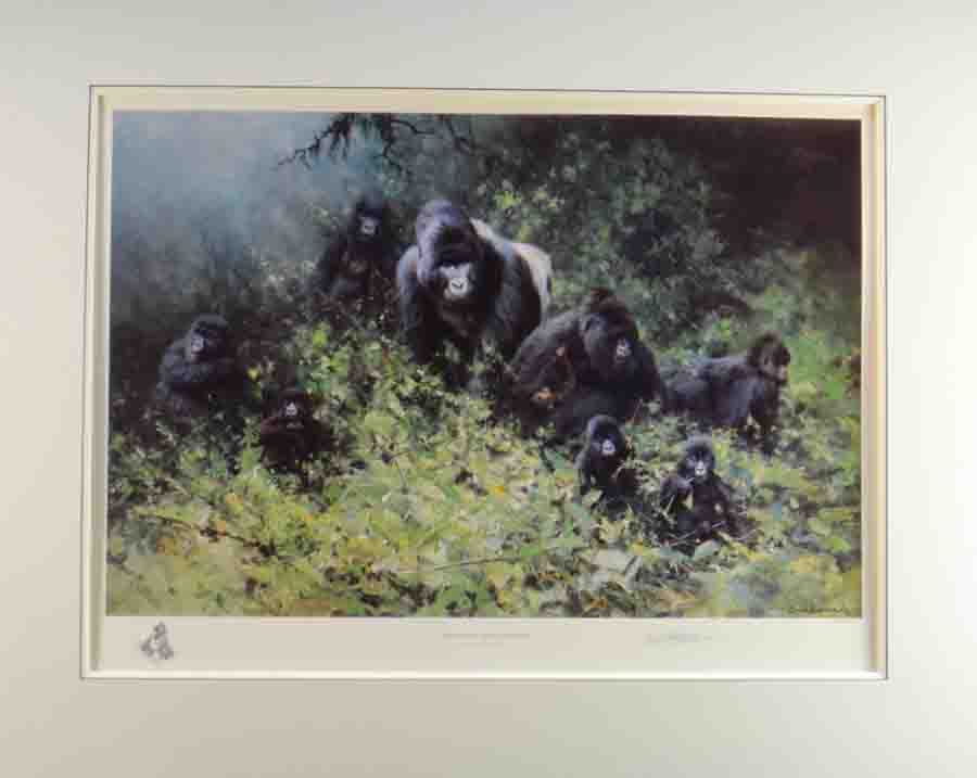 david shepherd mountain gorillas of rwanda, mounted