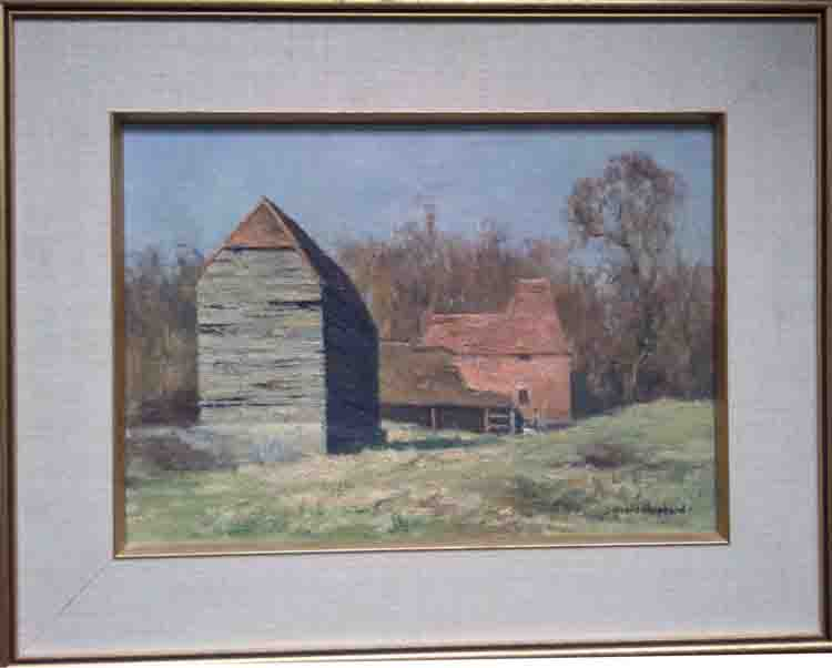 david shepherd landscape with farm buildings framed