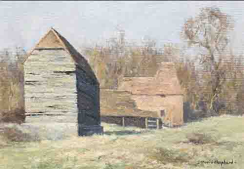 david shepherd landscape with farm buildings