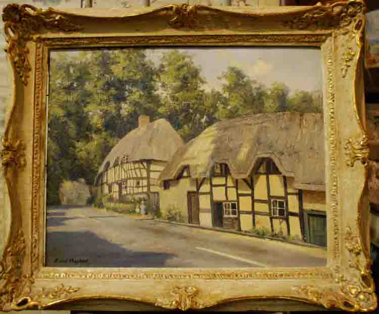 david shepherd thatched cottages original painting framed