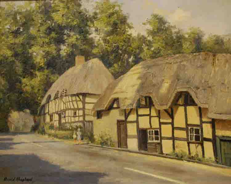 david shepherd thatched cottages original painting