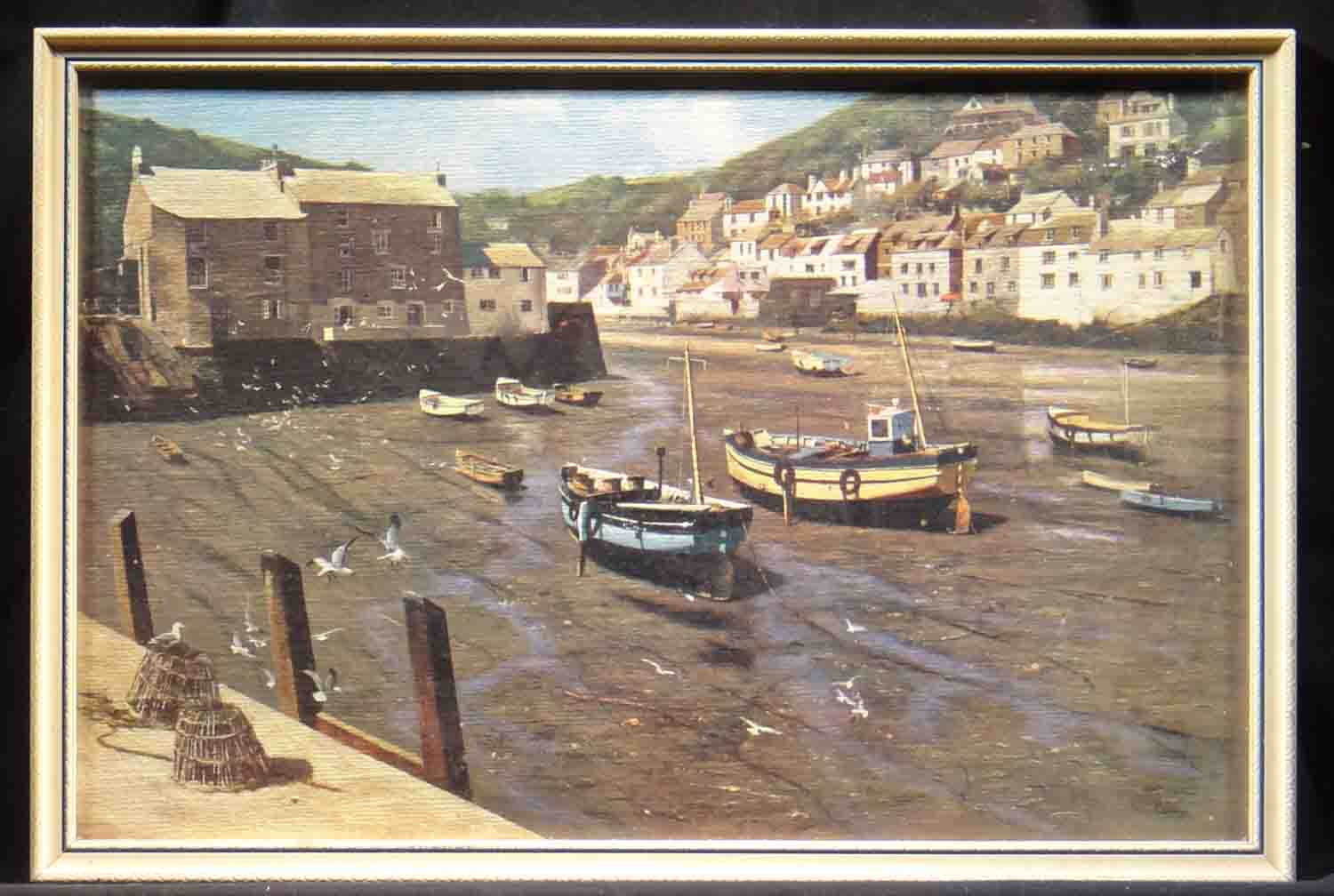 David Shepherd polperro, harbour, cornwall, England print mini