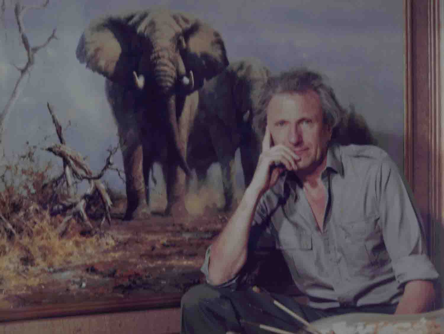 david shepherd painting in his studio