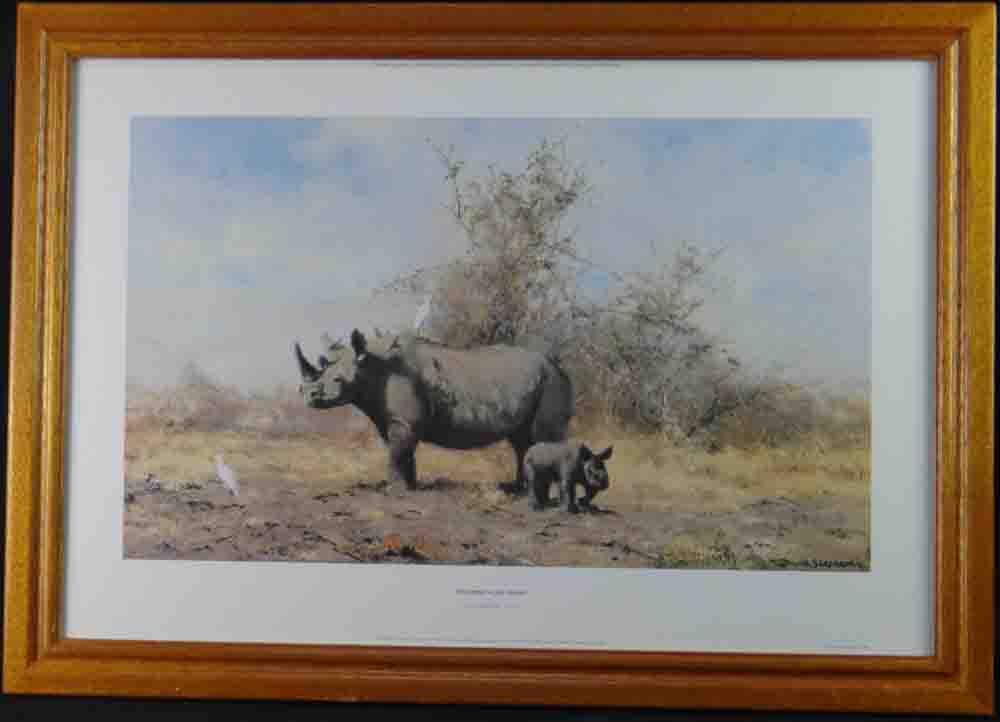 david shepherd  rhinos last stand print framed