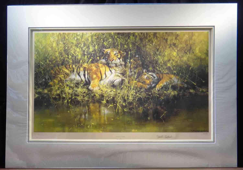 sleepy tigers, david shepherd mounted