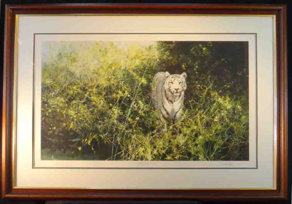 david shepherd  white tiger of Rewa framed