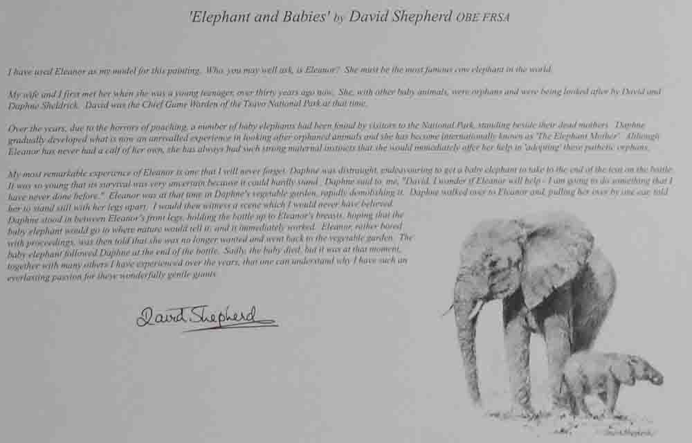 david shepherd wildlife of the world Elephant and babies, text