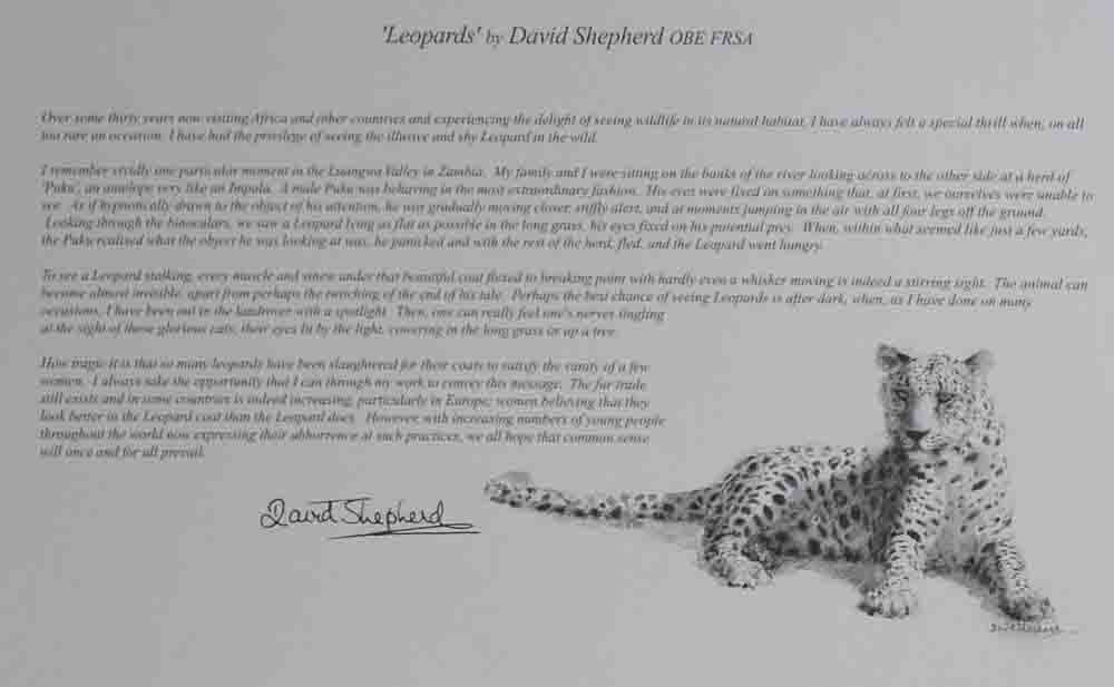 david shepherd wildlife of the world Leopards, text