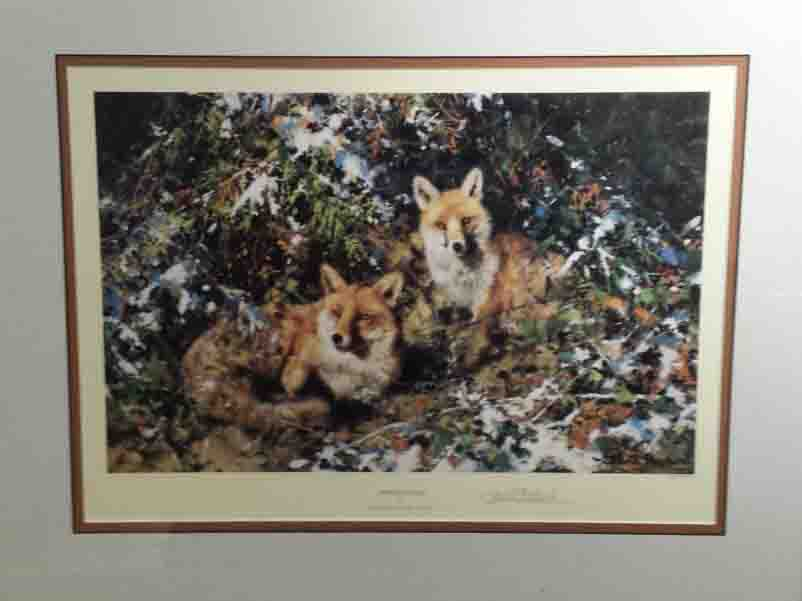 shepherd winter foxes signed print