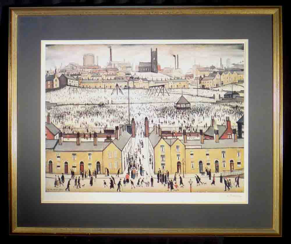 lowry britain at play signed print mounted