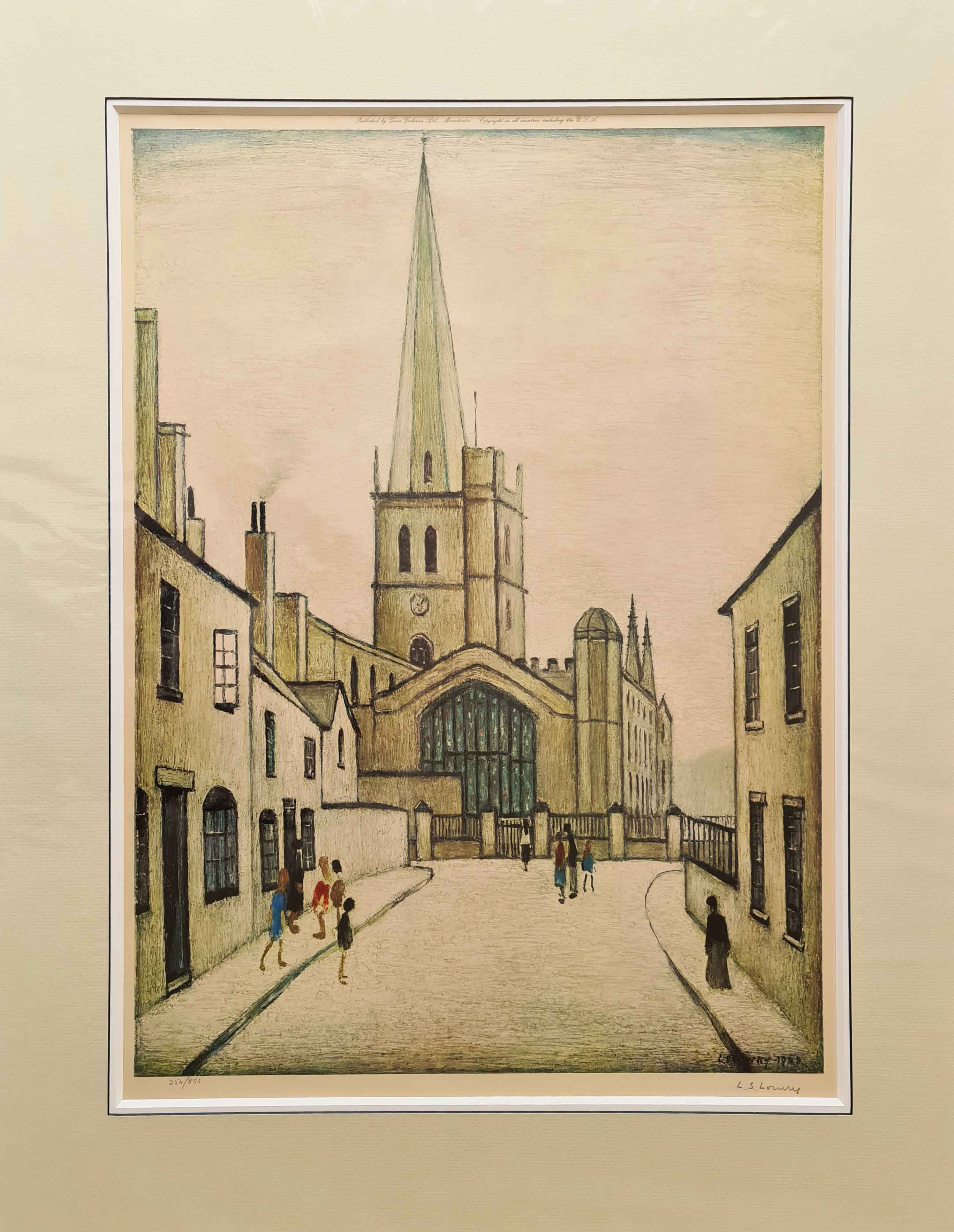 lowry, Burford church, signed print, lslowry