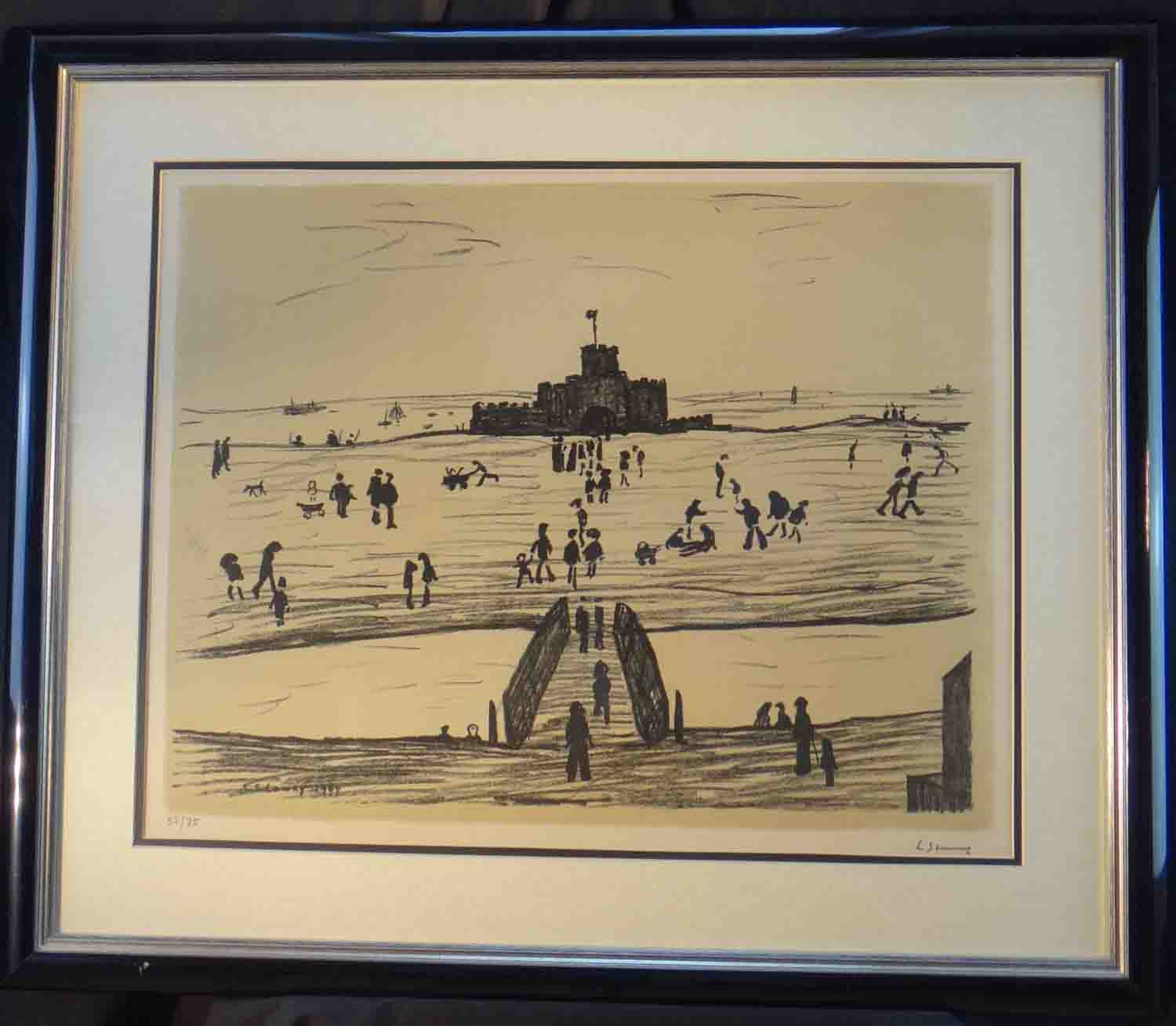 lowry castle on the sands lithograph framed