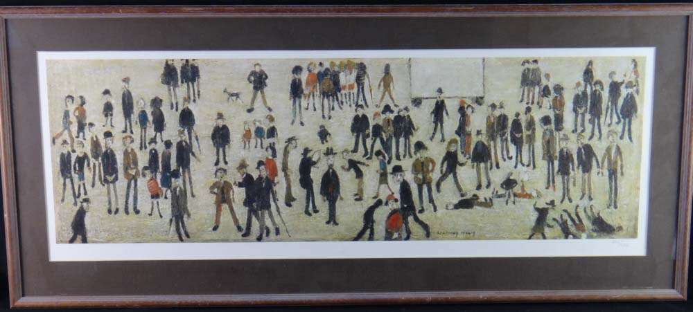lowry crowd around a cricket sightboard framed