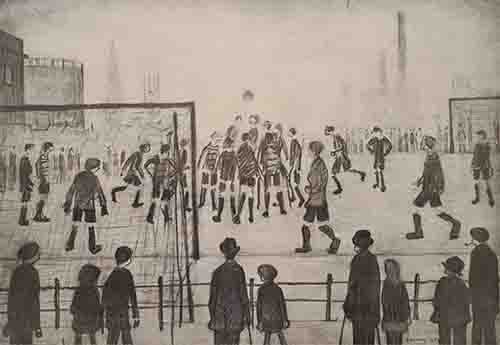 ls lowry football match, signed, limited edition,print