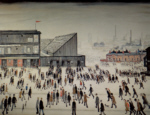 lowry, signed, prints, Going to the match