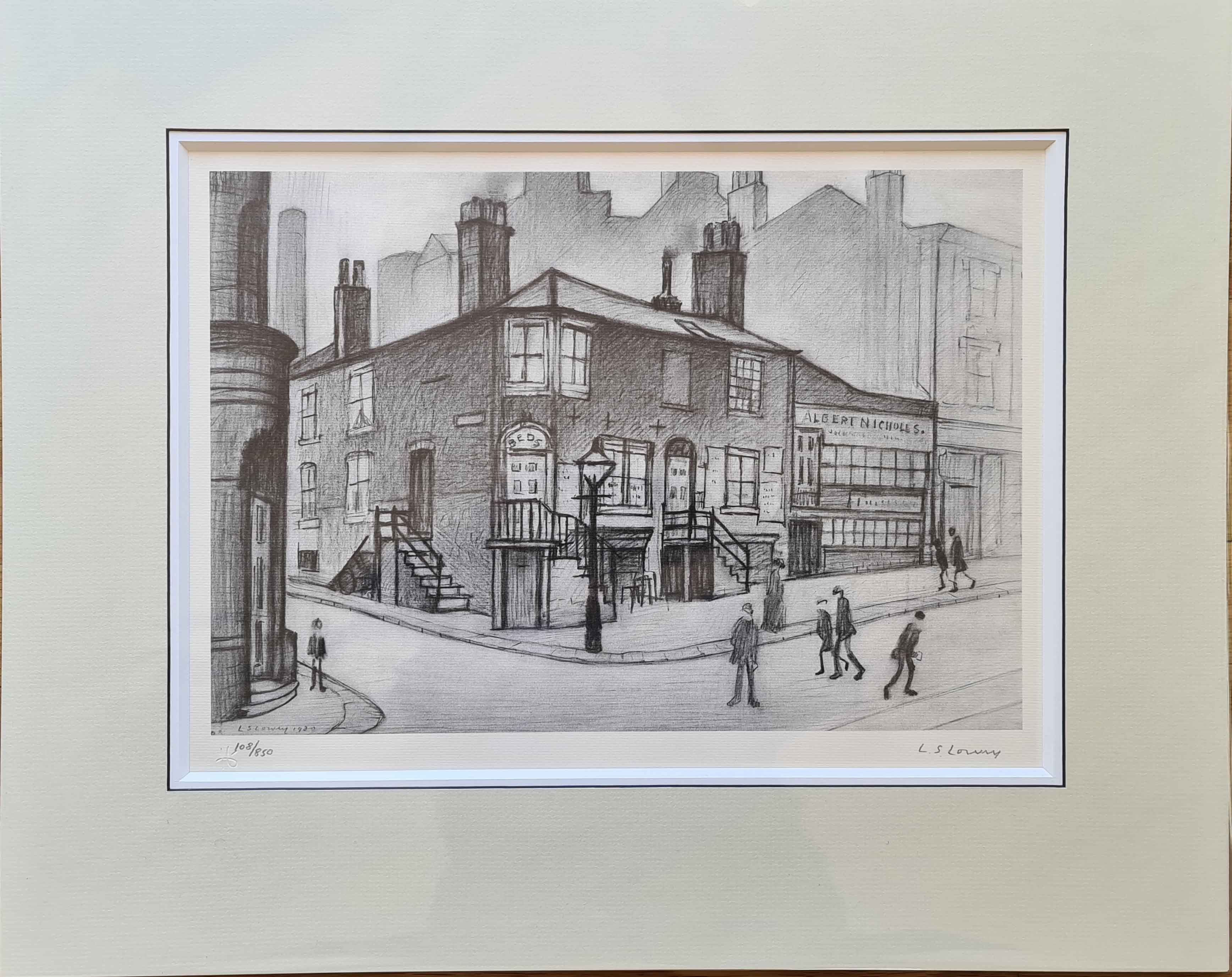 lowry great Ancoats street signed print mounted