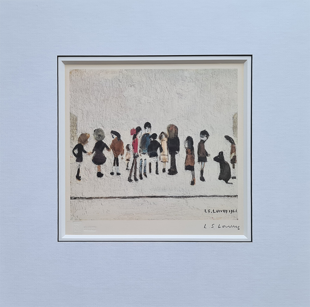 lowry, group of children, signed print lslowry