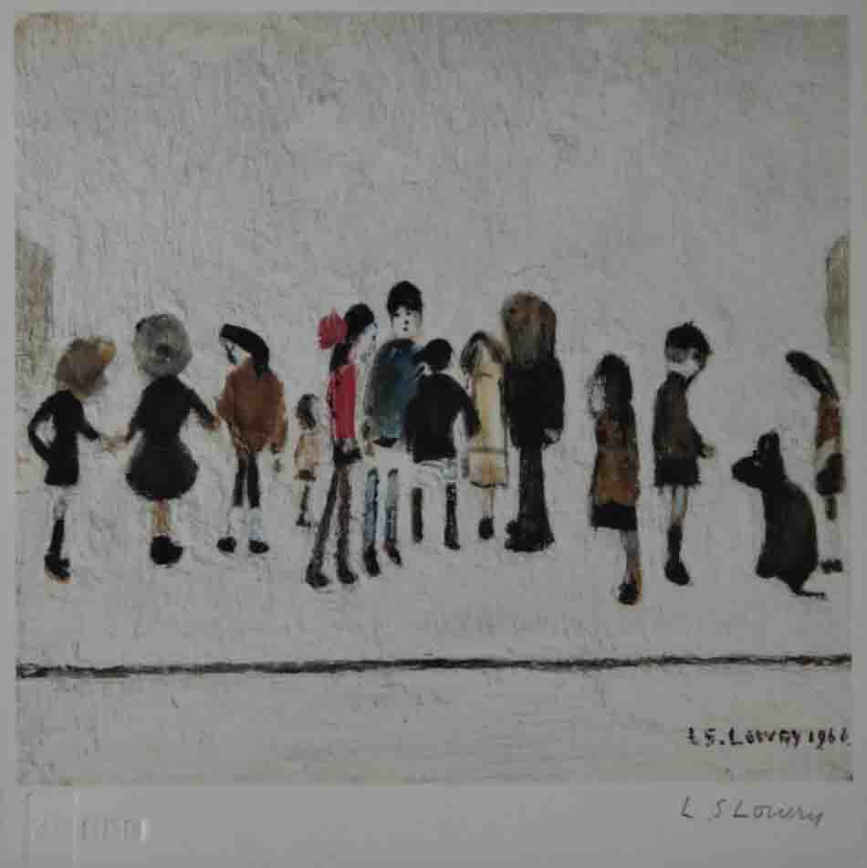 lowry group of children signed print lslowry