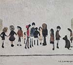 lowry signed prints, group of children