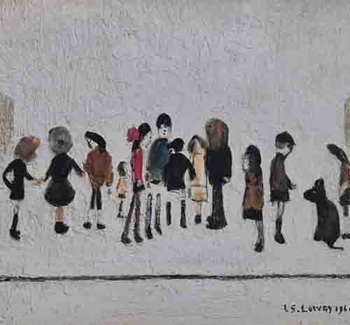 lowry, signed, prints, group of children