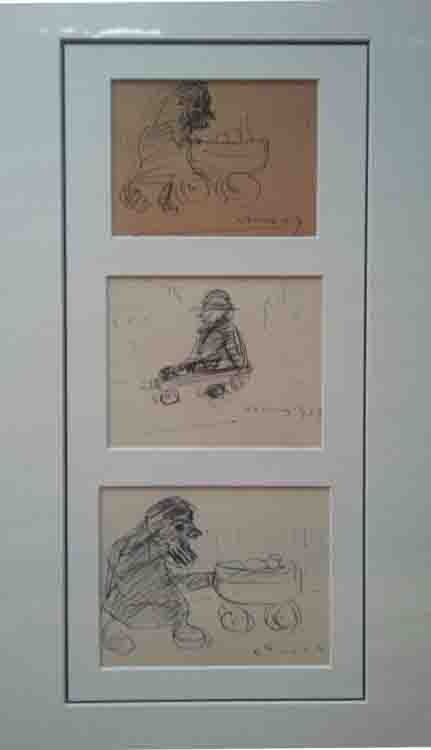 lowry group of children sketch signed print lslowry
