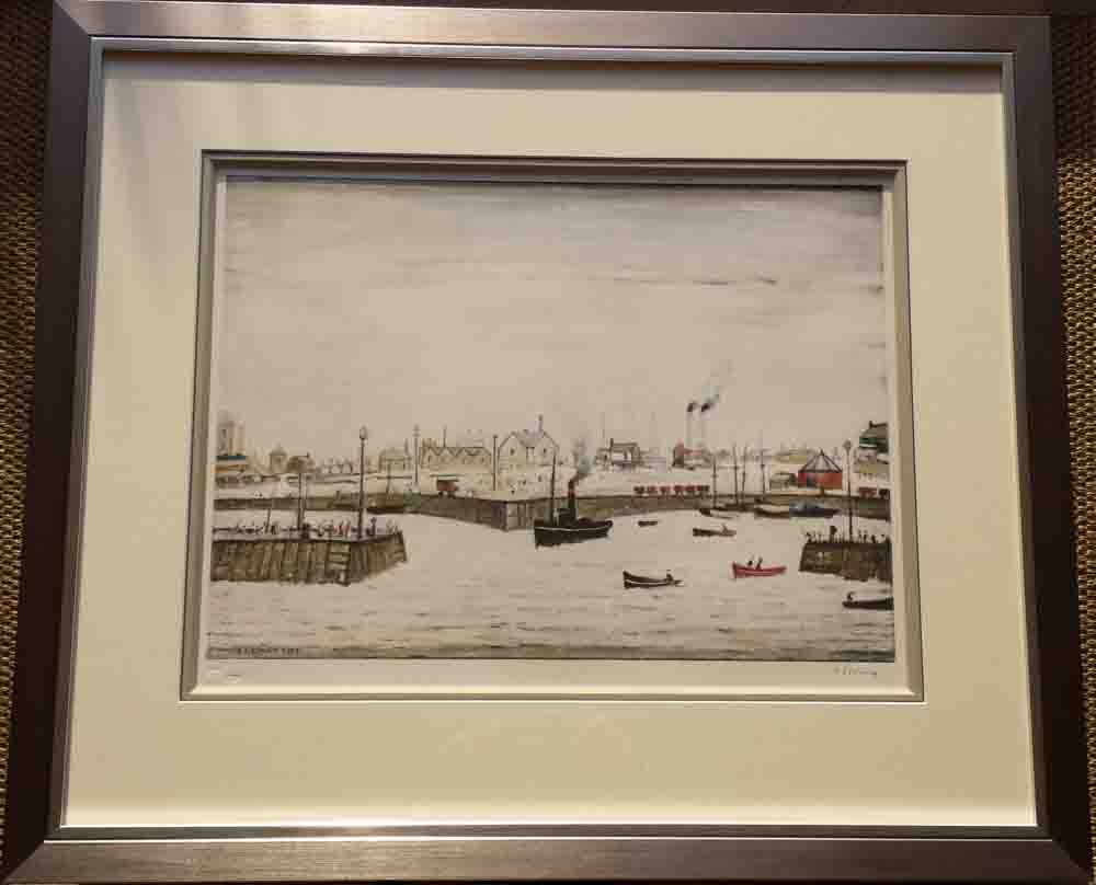 lowry harbour signed print framed