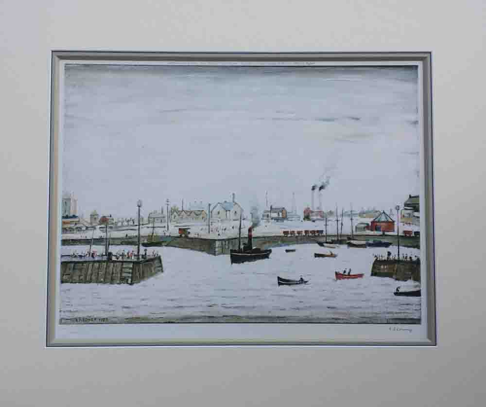 lowry harbour signed print french bound mount