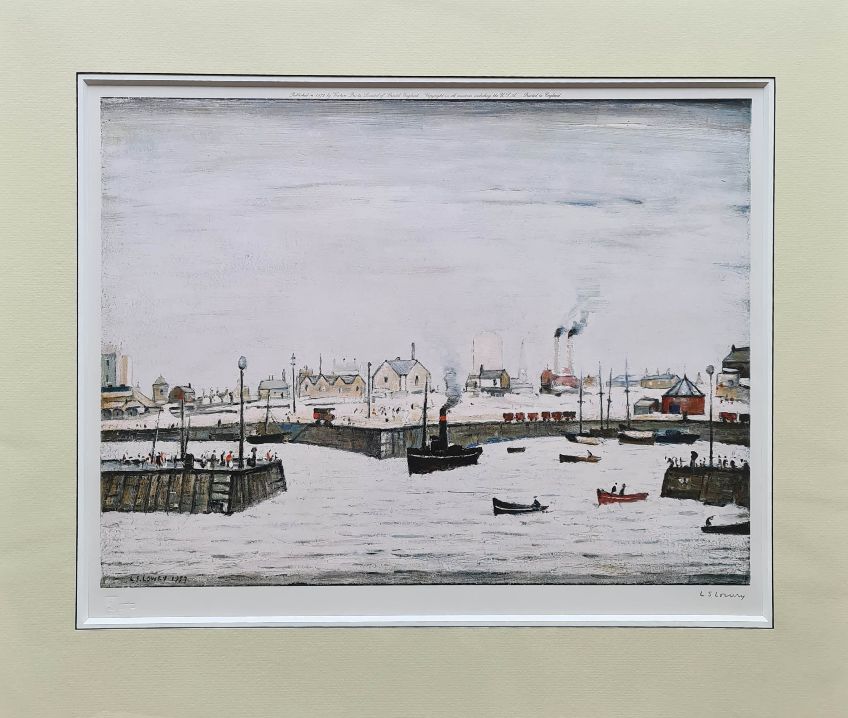 lowry, harbour, signed print lslowry