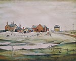 lowry signed prints, landscape with farm buildings
