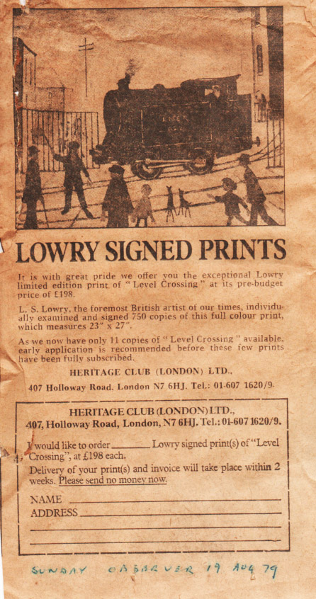 lowry level crossing with train advert