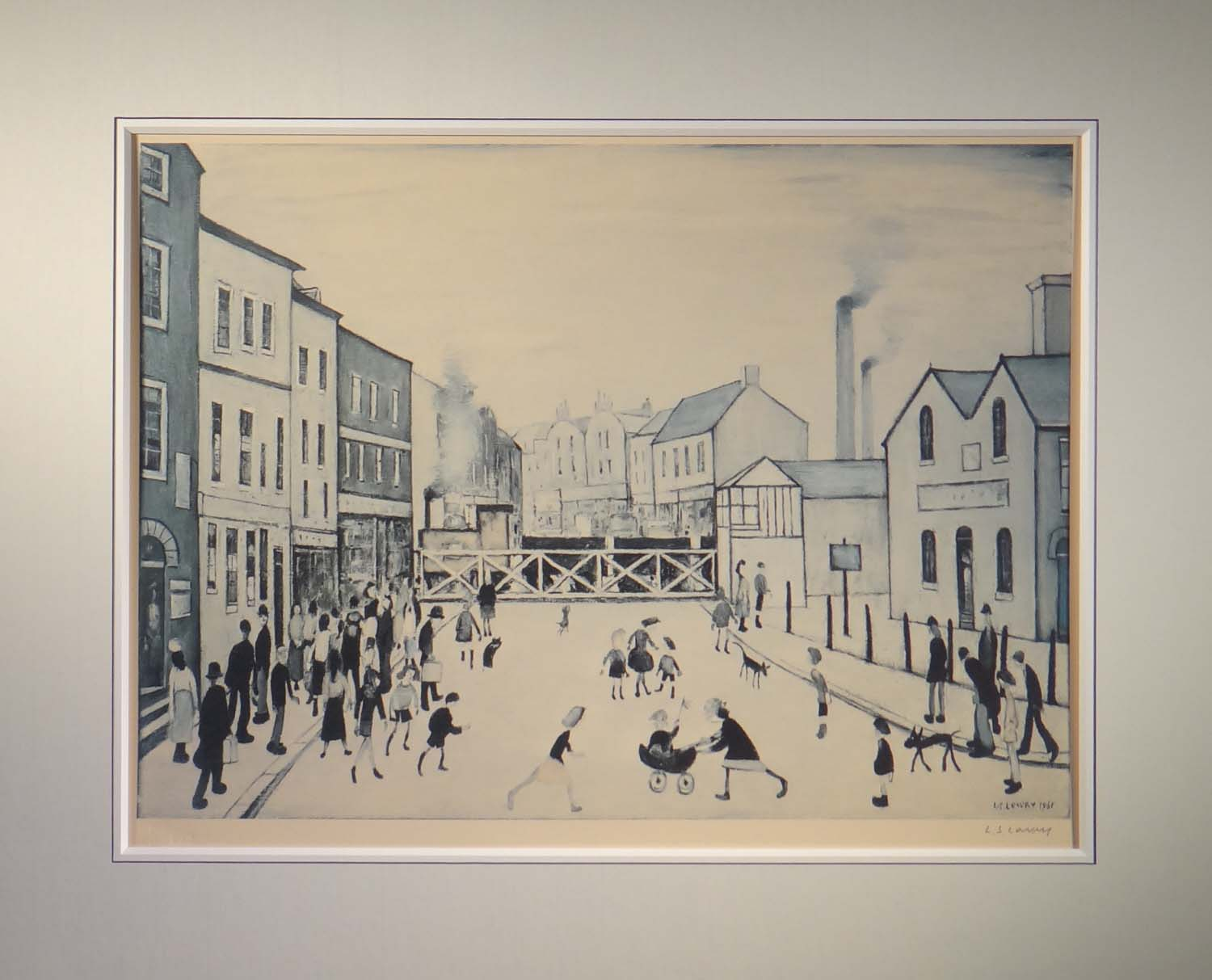 lowry, level crossing burton on trent mounted, signed print lslowry