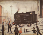 lowry signed prints, level crossing with train