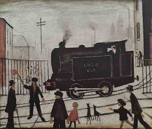 lowry prints, level crossing with train