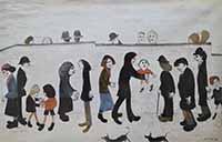 lowry, signed, prints, man holding child