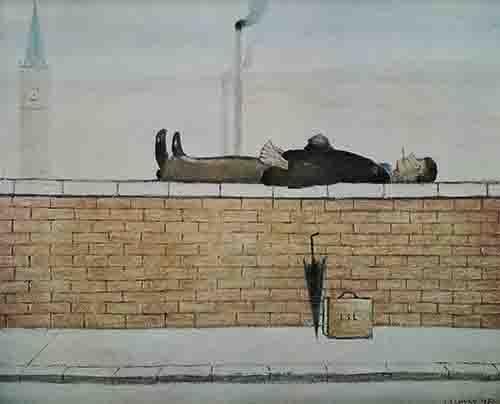 lowry, prints, man lying on a wall