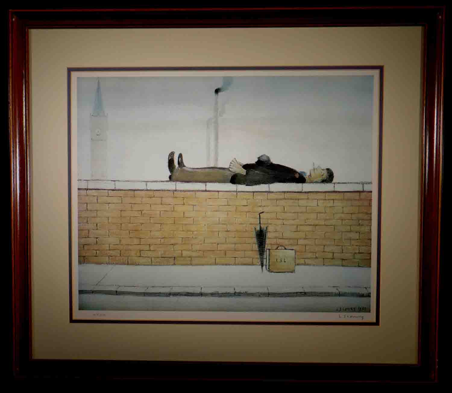 lowry, Man on a wall, signed print lslowry