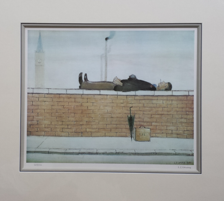 Lowry original signed limited edition lithograph prints, Old Steps Stockport