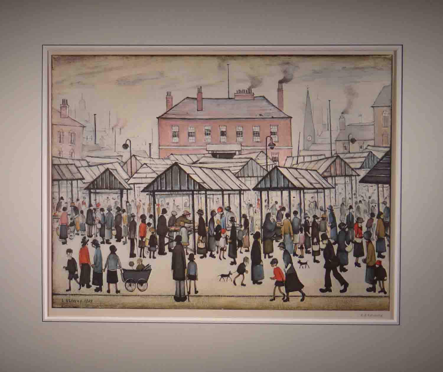 lowry, market scene in a northern town, signed print lslowry