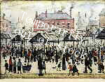 lowry signed prints, market scene in a northern town