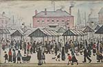 lowry, prints, market scene in a northern town