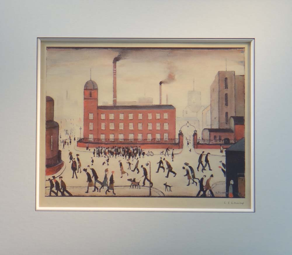 lowry mill scene signed print mounted lslowry