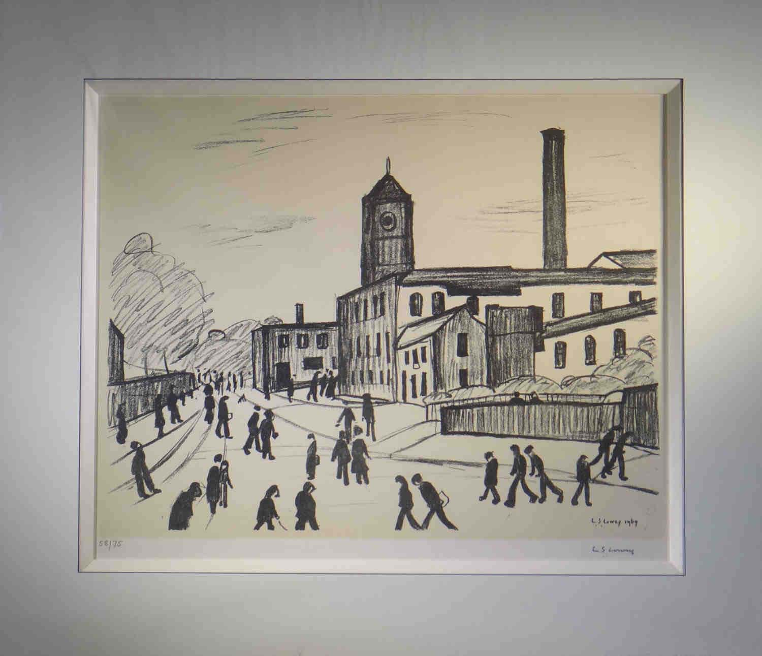 lowry, A Northern Town, lithograph signed print lslowry