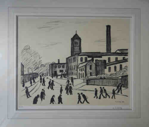 Lowry original signed limited edition lithograph, A northern town