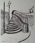 the old steps Stockport litho print